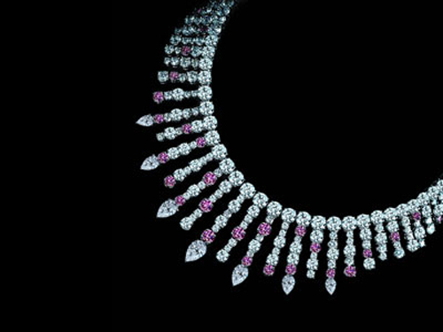 Leviev Fancy Deep Pink White Diamond Necklace