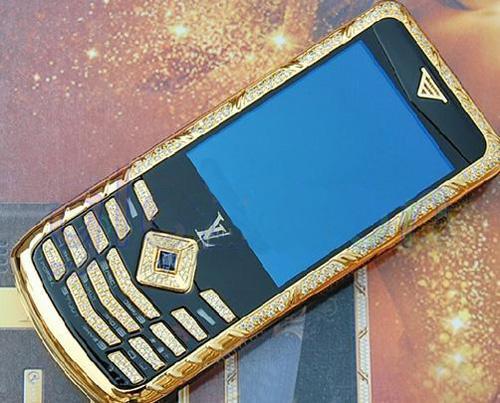 new concept 7636a 8a10a Louis Vuitton LV Gold Diamond Cell Phone