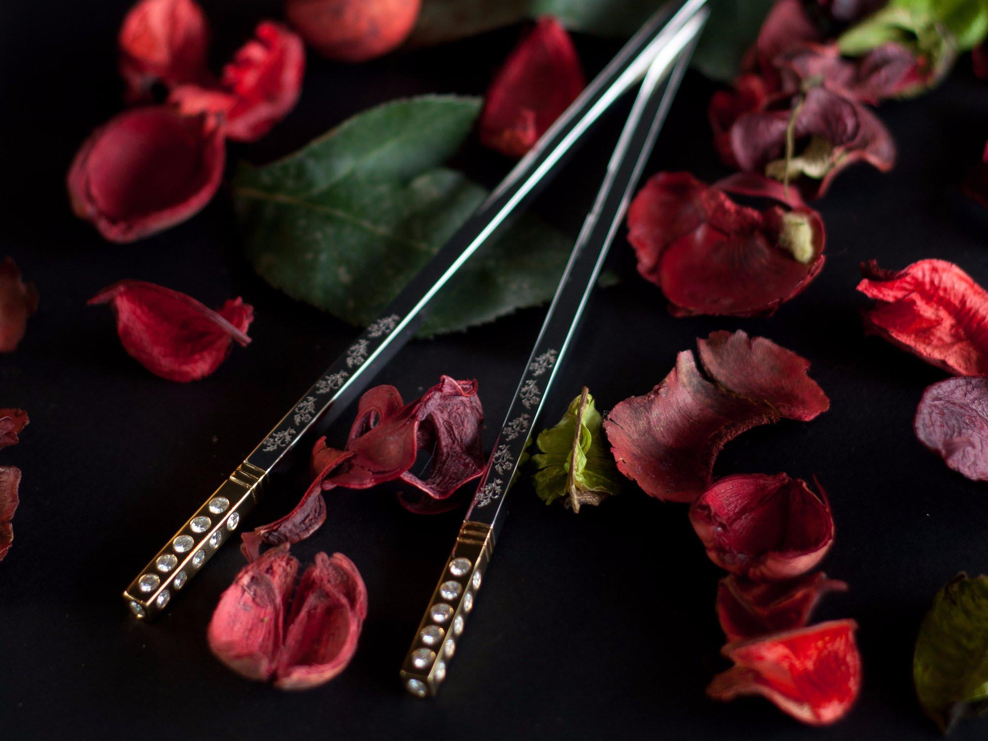 luxury diamond chopsticks
