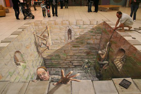 Julian Beever - Pavement chalk art