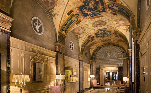 The Sherry-Netherland Hotel lobby and ceiling mural