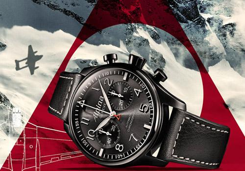 "Alpina Startimer Pilot Automatic Chronograph ""Black Star"" Watch"