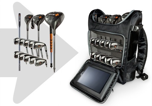 DV8 Sports portable golf clubs and bag